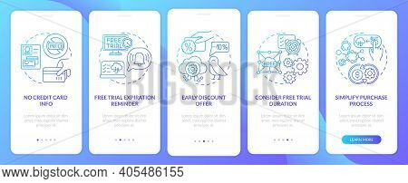 Free Saas Trial Onboarding Mobile App Page Screen With Concepts. Expiration Reminder, Duration Walkt