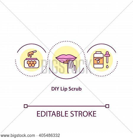 Diy Lip Scrub Concept Icon. Face Care Idea Thin Line Illustration. At Home Face Care Procedures . Li