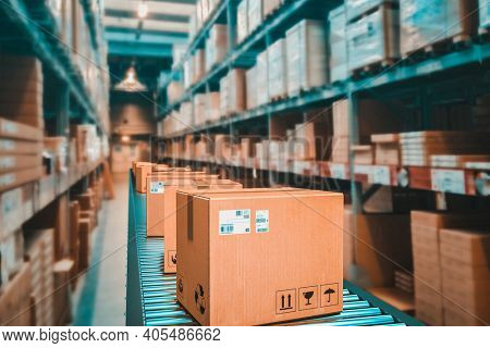 parcels on conveyor belt in a warehouse. 3d render.