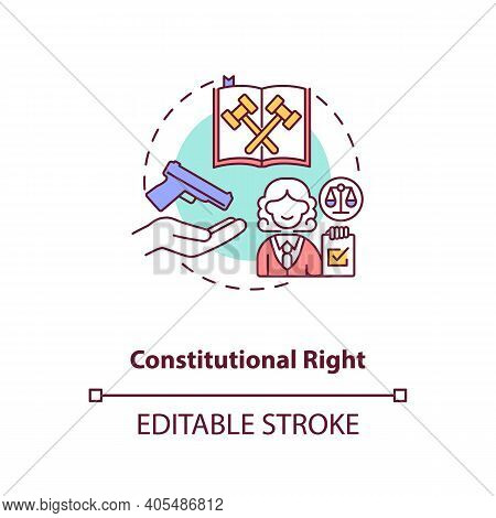 Constitutional Right Concept Icon. Legislation For Firearm Ownership. Gun Rights, Weapon Control Ide