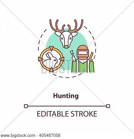 Hunting Concept Icon. Killing Animals For Hobby. Seasonal Hunt For Reindeer, Rabbit. Gun Violence Id