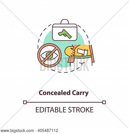 Concealed Carry Concept Icon. Hidden Firearm. Pistol For Defense. Weapon Ownership Regulation. Gun C