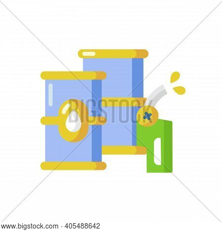 Petroleum Vector Flat Color Icon. Petrochemical Industry, Petrol Refinery. Fossil Fuel Storage, Barr