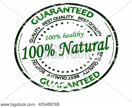 Rubber Stamp With Text One Hundred Percent Natural Inside, Vector Illustration