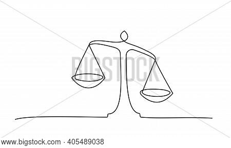 Judicial Scales On White Background. Continuous One Line Drawing. V