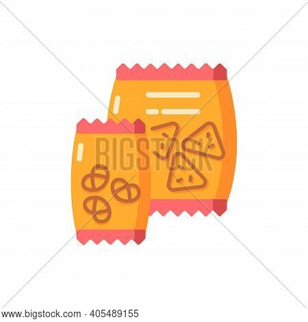 Snacks Vector Flat Color Icon. Potato Chips In Bag. Salty Crackers. Junk Food. Crisp Retzel In Packa