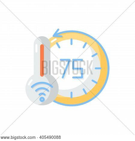 Thermostat Vector Flat Color Icon. Smart Home Monitoring Devices. Measuring Temperature. Heater And