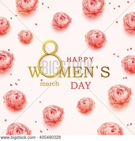 Happy Womens Day Greeting Card With Realistic Pink Peonies Flowers Background. Postcard On March 8.