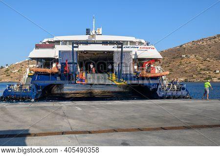 Ios, Greece - September 22, 2020: Caldera Vista, High Speed Catamaran Owned By Seajets In Ios Port.