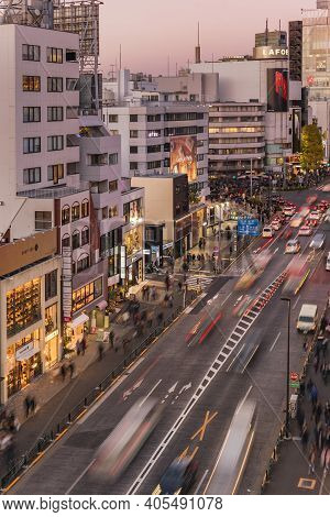 Tokyo, Japan - December 15 2019: Bird's View Of The Japanese Youth Culture Fashion's District Crossi