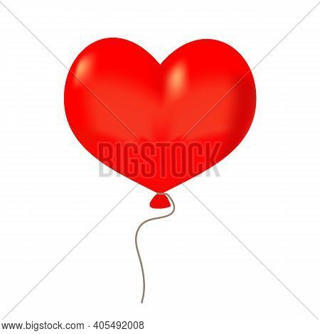 A Red Heart Ballon Drawing In Vector