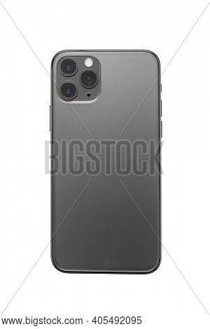 Back view of mobile or smartphone new model photo isolated on white background, including clipping path