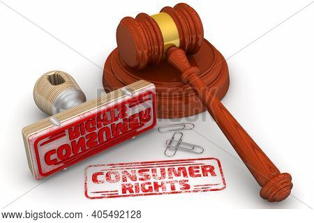 Consumer Rights. The Stamp And An Imprint. Wooden Stamp And Red Imprint Consumer Rights With Judge's