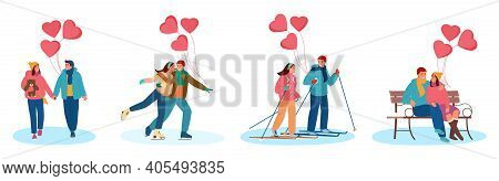 Vector Set Of Young Couples In Love With Heart Shaped Balloons Celebrating Saint Valentine's Day Out