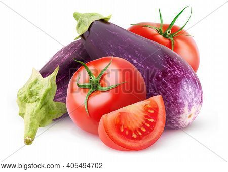 Isolated Vegetables. Raw Eggplants And Tomatoes Isolated On White Background