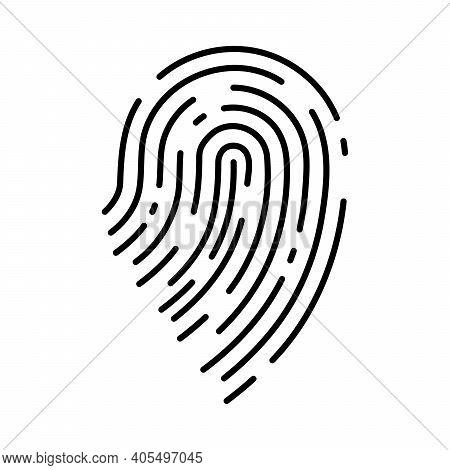 Fingerprint Icon. Black Thumbprint Icon. Concept Of Fingerprint Recognition. Vector Illustration