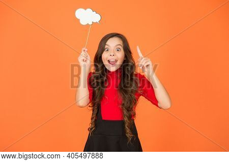 Thinking Over Creative Idea. Inspiration And Idea. Smart Child With Party Cloud. Pretty Thoughtful K