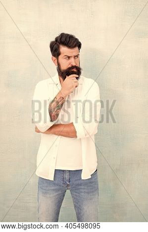 Hipster Long Beard And Mustache. Simple And Casual. Casual Style Daily Life. Summer Season Fashion T