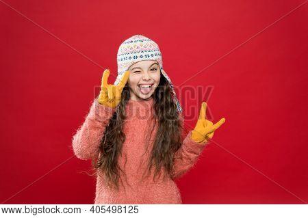 Feeling Cool. Adorable Baby Long Hair Wear Cute Winter Knitted Hat. Girl Wear Winter Theme Accessory