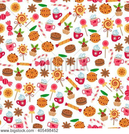 Christmas Sweet-stuff Pattern. Seamless With Cookies And Sweets. Xmas Bar Menu. Vector Holiday Backg