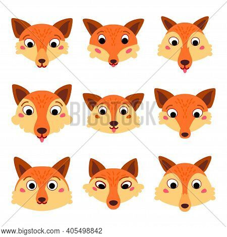 Set Of Cartoon Cute Fox Faces Isolated On White Background. Collection Of Wild Different Red Head Wo