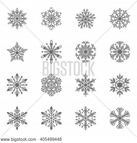 Set Of Flat Snowflakes In Line Art Style. Geometric Snow Symbol In Line Isolated Silhouette Symbol.
