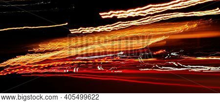 High-speed Light Tracks Of Car Lights On The Highway Highway In The Night City, Long Exposure, Abstr