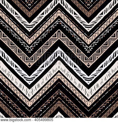 Seamless Bronze Metallic Ethnic Zigzag Chevron Pattern. Hand Drawn Colorful Geometric Background. St