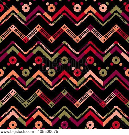 Tribal Ethnic Ikat Folklore Pattern. African Abstract Ornament. Vector Fashion Print. Seamless Patte