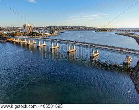 Aerial View Of Mission Bay In San Diego, With Ingraham Street Bridge During Summer Sunny Day. West M