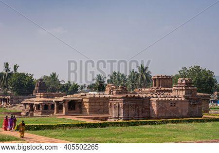 Aihole, Karnataka, India - November 7, 2013: Brown Stone Lad Khan And Suryanarayana Temples Landscap