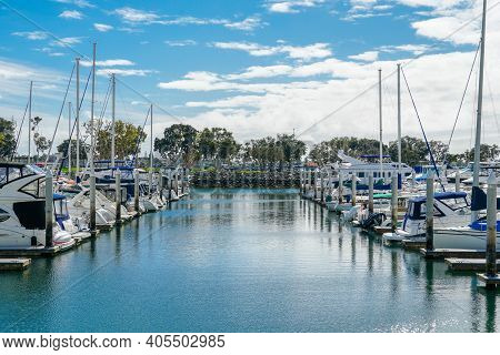Boats Moored At Embarcadero Marina Park North, San Diego. Boat, Yachts, Ship And Sail Docked At The