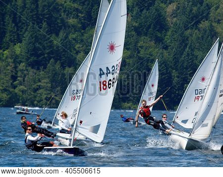 Chilliwack, British Columbia, Canada, Date 06-02-2013 Sail Boat Race During Sailing Regatta On Cultu