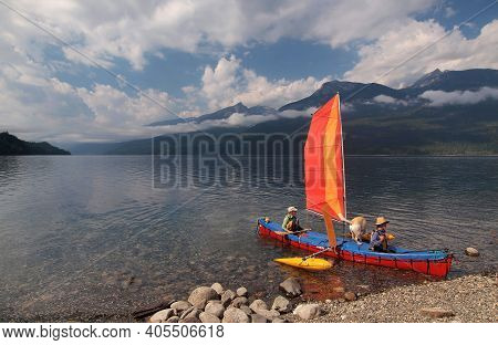 Nakusp, British Columbia, Canada, Date 08-24-2013 Boaters Setting Off On Popular Arrow Lake In The K