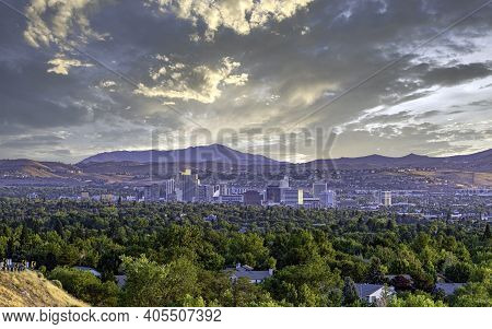 Cityscape Of The Downtown Reno Nevada Skyline With Hotels And Casinos.
