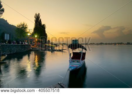 Srinagar, Jammu And Kashmir, India - 31st August 2014 : Sunset On Dal Lake, Srinagar. Houseboats Flo
