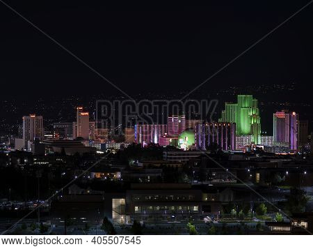 Reno, Nevada Usa - July 18, 2017: City Of Reno Nevada Cityscape With Hotels And Casinos With All The