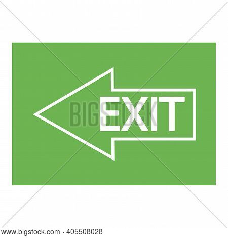 Left Arrow On Green Background. Exit Inscription On The Arrow. Fire Exit. Stock Image.