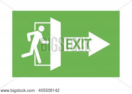A Man Running At The Door. Arrow Labeled Exit. Green Evacuation Sign. A Pointer To Escape. Stock Ima