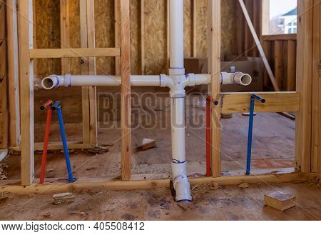 Home Construction With Hot Red And Cold Blue Pex Pipe Layout In New Bathtub House Pvc Waste Water Sy