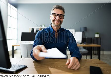 Executive Hand Giving Payment Check Or Compensation Cheque