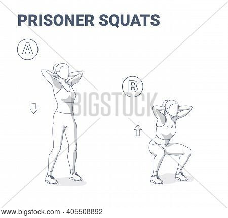 Prisoner Squats Female Home Workout. Squatting Athletic Young Woman In Sportswear Does Exercise Work