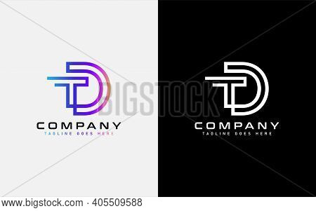 Colorful D And T Modern Logo Design. Usable For Business, Community, Foundation, Tech, Services Comp
