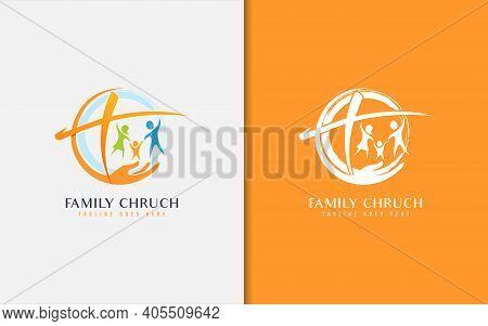 Family Church Logo Design. Usable For Business, Community, Foundation, Tech, Services Company. Vecto