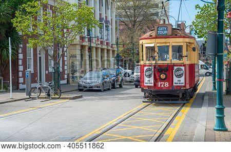Christchurch, New Zealand -october-02-2017 : Christchurch Heritage Tram Running On Tramway. Christch