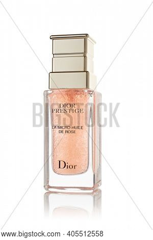 St.Petersburg, Russia - March 2020 - Bottle of rose oil Dior Prestige La micro-huile de rose on white background. Product  from Christian Dior