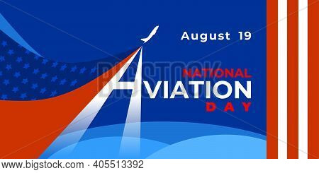 National Aviation Day. Vector Web Banner, Poster, Card For Social Networks And Media. Logo With Airp