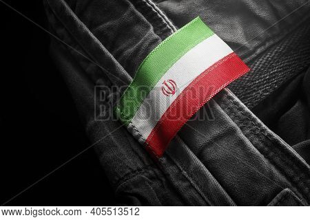 Tag On Dark Clothing In The Form Of The Flag Of The Iran