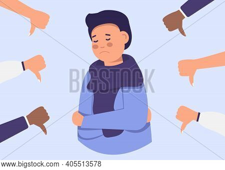 Cheerful Young Man Is Surrounded By Hands With Thumbs Down. The Concept Of Public Disapproval, Non-r