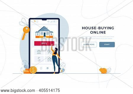 House-buying Online Landing Page Template. Woman Buys New Home, Touches The Button On Phone. Mortgag